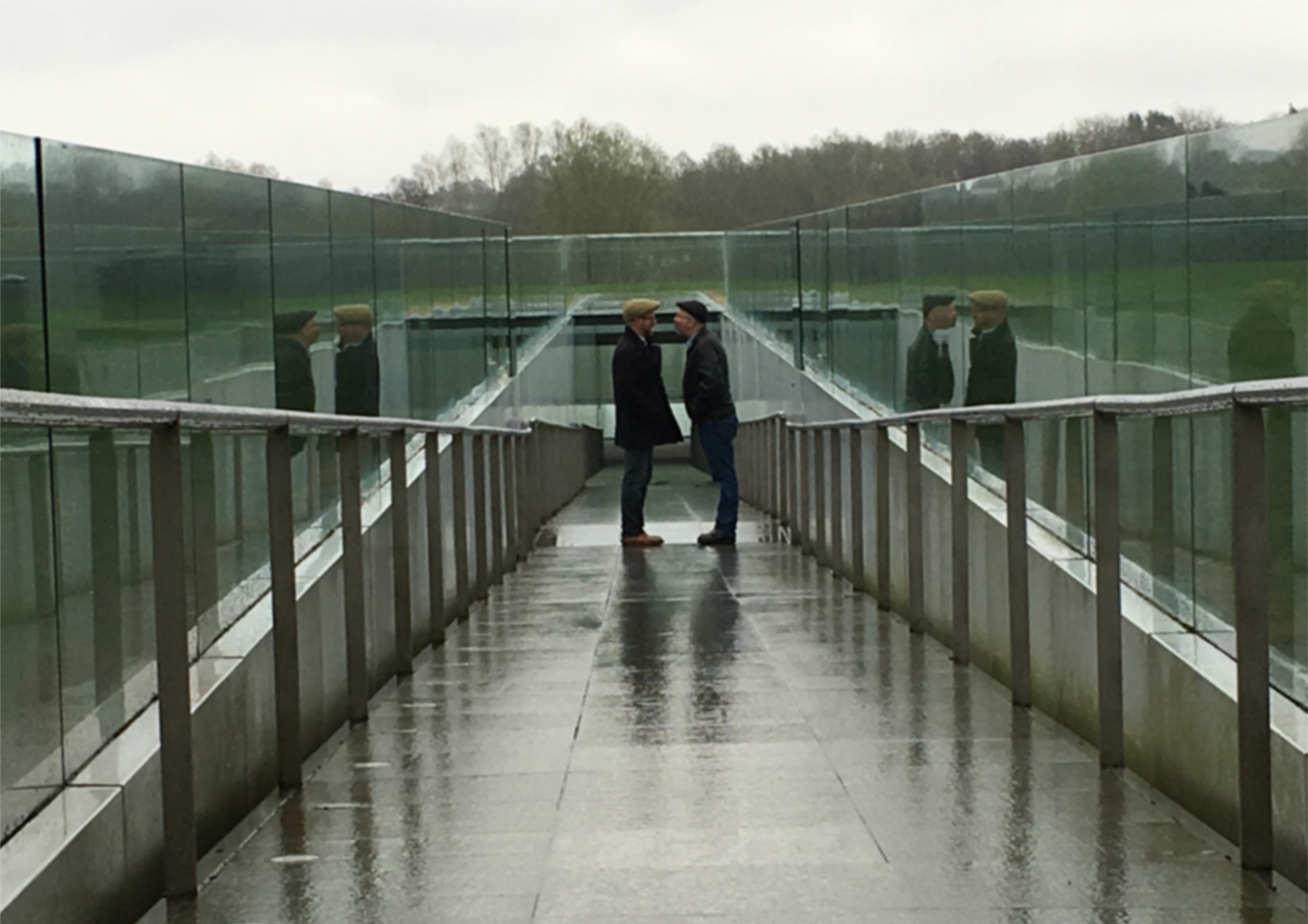 A photograph of David Martin stood with Jez Dolan outside the Sainsbury Centre for the Arts